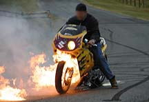 bike burnout flame out